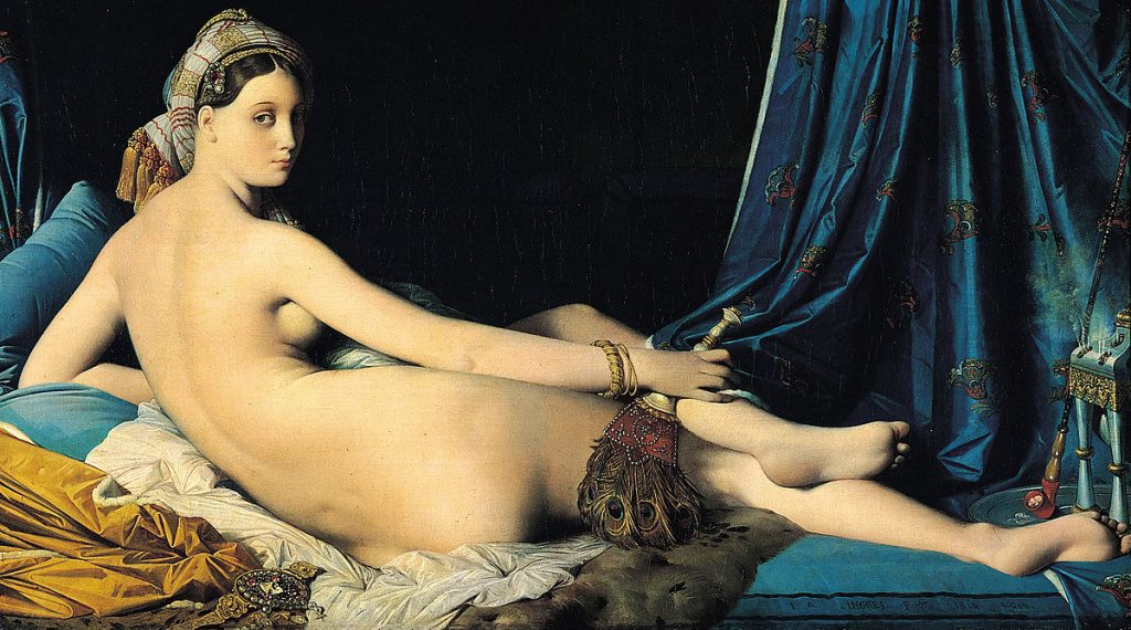 The Great Odalisque - Jean Auguste Dominique Ingres (Room 75 - Denon wing) Made for Napoleon's sister, Queen Caroline Murat, this is probably the most criticized naked woman you will ever find in any museum, this criticism is given by the distortion of anatomical proportions present in this painting.