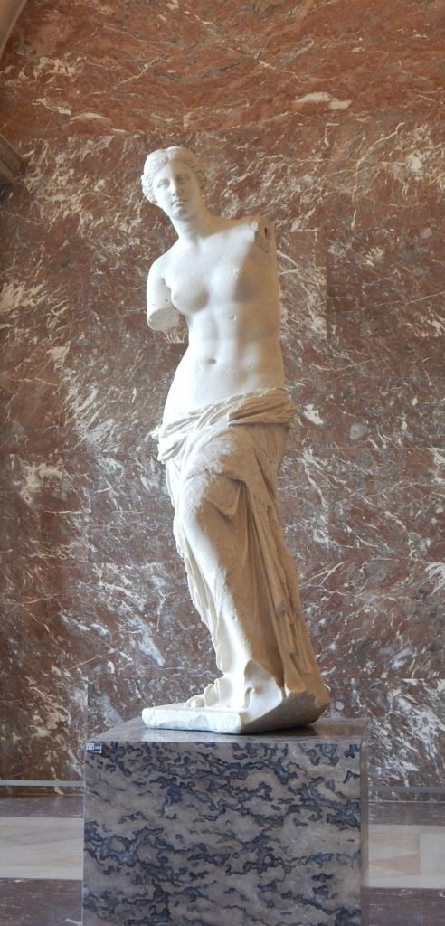 Possibly representing Aphrodite, Venus the Milo is one of the biggest representations of classical female beauty and considered one of the most important artworks in Louvre.