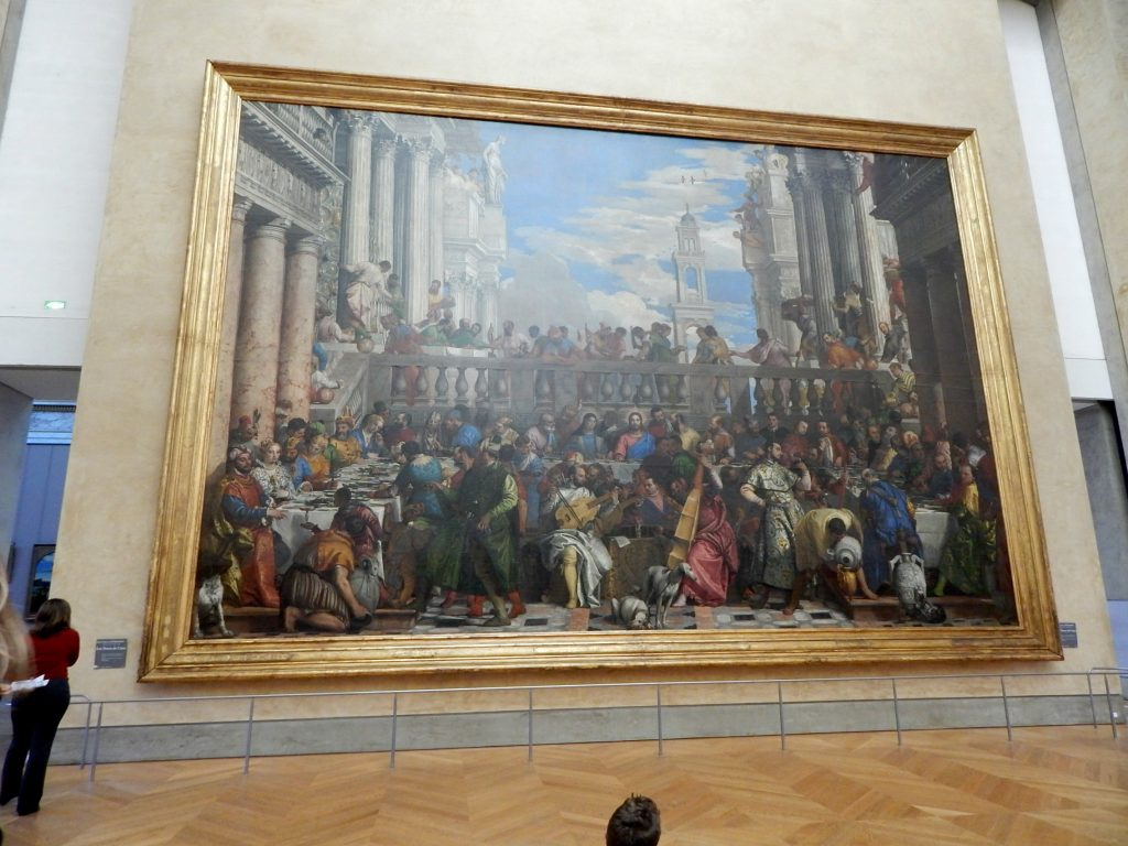 Les Noces de Cana - By Paolo Veronese (Room 6- Denon wing) This is the biggest painting displayed in the Louvre museum. The painting was stolen by Napoleon and brought to Paris. Represents a nuptial banquet described in the Gospel of John.