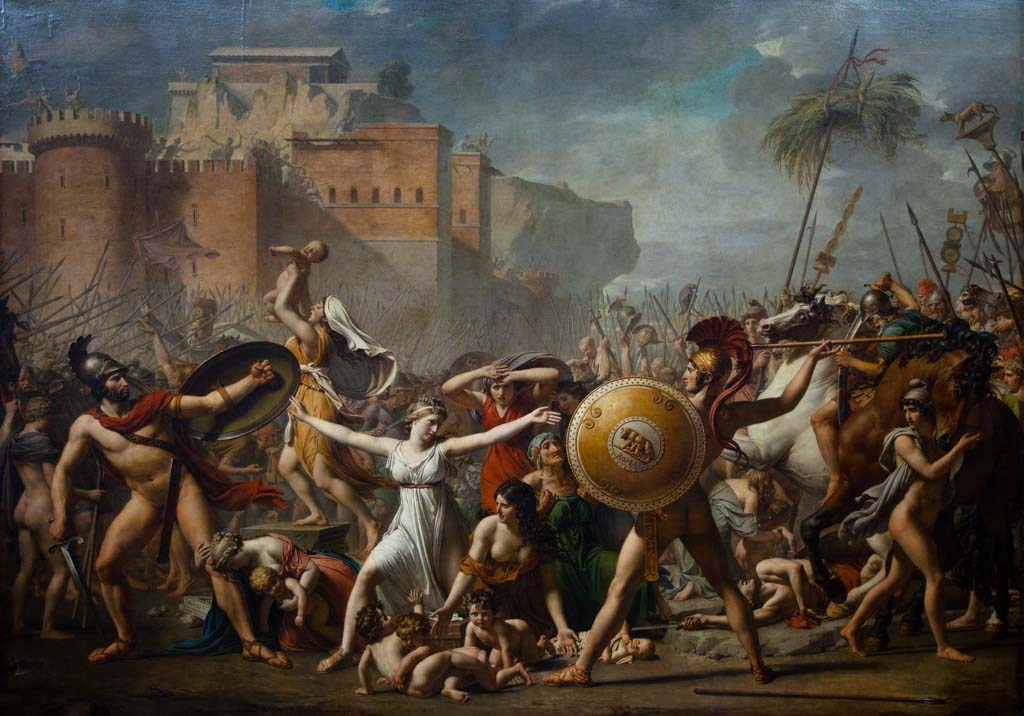 The Intervention of the Sabine Women - Jacques-Louis David (Room 75 - Denon wing) The painting represents a legendary episode of Roman mythology with the Sabine women interposing themselves to separate the Romans and Sabines soldiers.