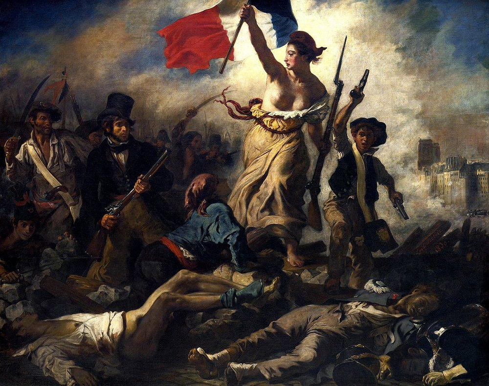 Liberty Leading the People - Eugène Delacroix (Room 77 - Denon wing) The painting is a commemoration for the July Revolution of 1830. The woman in the picture, known as Marianne (the personification of Liberty) is a national figure and represents the triumph of the French Republic over the monarchy. In this painting, Marianne champions the Tri-colored French flag (symbolizing Liberty, Equality & Fraternity).
